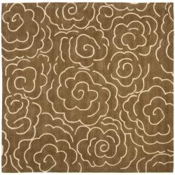Safavieh Handmade Soho Roses Brown New Zealand Wool Rug (6' Square)