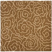 Safavieh Handmade Soho Roses Brown New Zealand Wool Rug - 6' x 6' Square