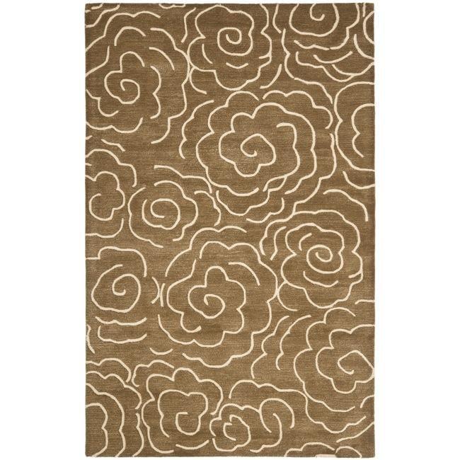 Safavieh Handmade Soho Roses Brown New Zealand Wool Rug - 7'6 x 9'6