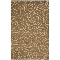 Safavieh Handmade Soho Roses Brown New Zealand Wool Rug - 7'6 x 9'6