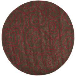 Safavieh Handmade Soho Roses Chocolate New Zealand Wool Rug - 6' - Thumbnail 0