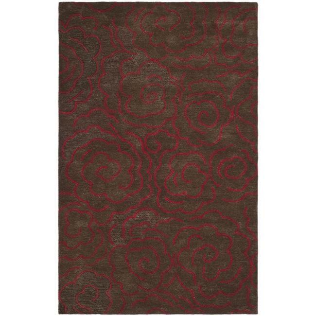 Safavieh Handmade Soho Roses Chocolate New Zealand Wool Rug - 7'6 x 9'6