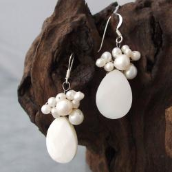 Silver White Shell/ Pearl Teardrop Drop Earrings (3-6 mm) (Thailand)