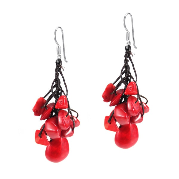 Silver and Cotton Rope Red Coral Teardrop Dangle Earrings (Thailand)