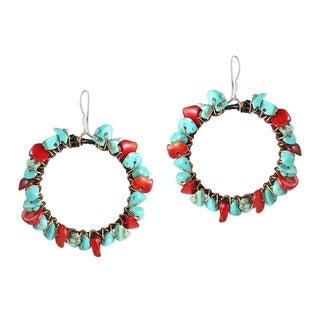 Handmade Copper Wire and Cotton Red Coral and Turquoise Earrings (Thailand)