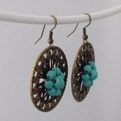 Antique Brass Round Turquoise Center Flower Earrings (Turquoise)