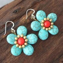 Handmade Brass/ Silver Turquoise/ Red Coral Flower Earrings (Thailand) - Thumbnail 1