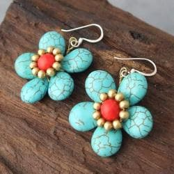 Handmade Brass/ Silver Turquoise/ Red Coral Flower Earrings (Thailand) - Thumbnail 2