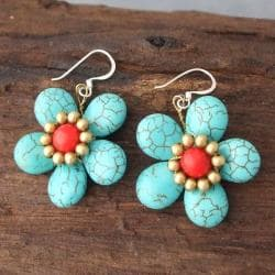 Handmade Brass/ Silver Turquoise/ Red Coral Flower Earrings (Thailand)
