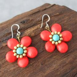 Brass/ Silver Red Coral/ Turquoise Flower Earrings (Thailand)