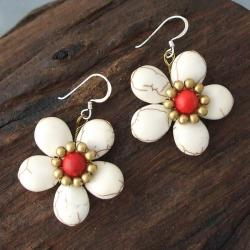 Handmade Brass/ Silver Red Coral/ White Turquoise Flower Earrings (Thailand) - Thumbnail 1