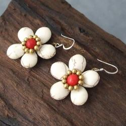 Handmade Brass/ Silver Red Coral/ White Turquoise Flower Earrings (Thailand) - Thumbnail 2