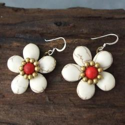 Handmade Brass/ Silver Red Coral/ White Turquoise Flower Earrings (Thailand)