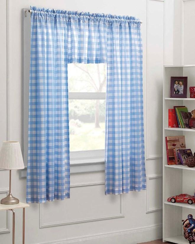 dream factory blue white check 63 inch curtain panel 3 piece set - Blue And White Window Curtains