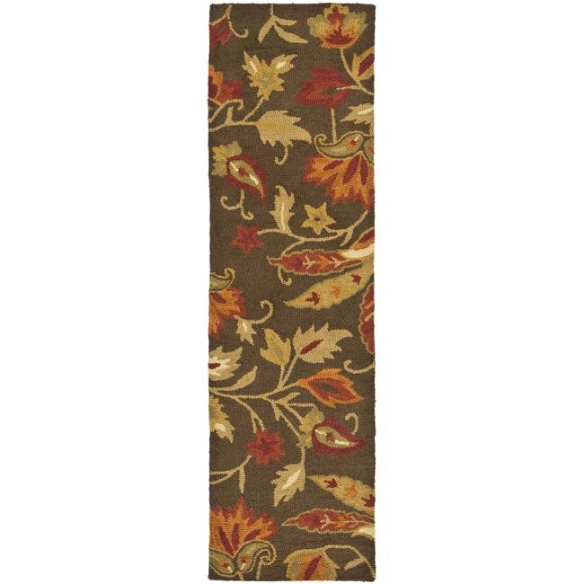 Safavieh Handmade Blossom Gardens Brown Wool Rug (2'3 x 8')