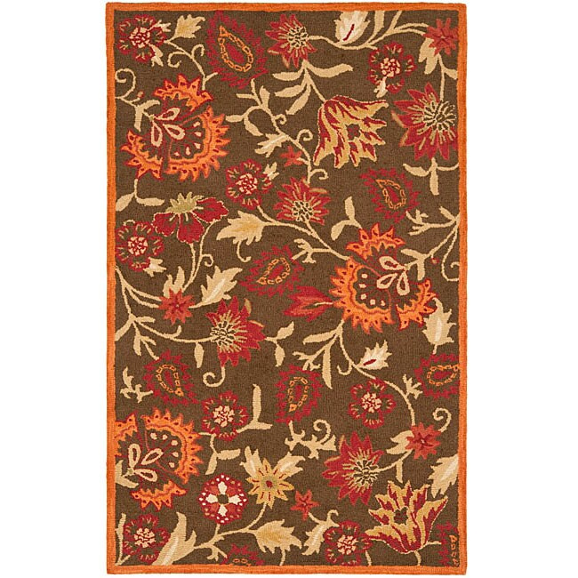Safavieh Handmade Blossom Gardens Brown Wool Rug (3' x 5')