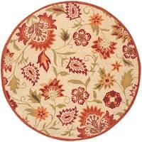 Safavieh Handmade Blossom Paisley Beige Wool Rug - 6' x 6' Round