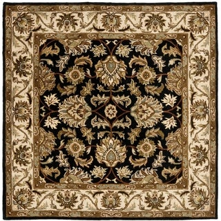 Safavieh Handmade Heritage Traditional Kashan Black/ Beige Wool Rug (8' Square)