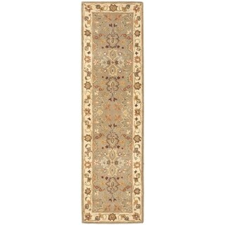 Safavieh Handmade Heritage Traditional Oushak Light Green/Beige Wool Runner (2'3 x 4')