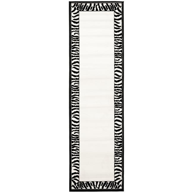 Safavieh Lyndhurst Contemporary Zebra Border Black/ White Runner (2'3 x 8')