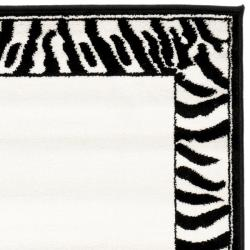 Safavieh Lyndhurst Contemporary Zebra Border Black/ White Runner (2'3 x 8') - Thumbnail 1