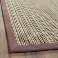 Safavieh Casual Natural Fiber Hand-Woven Stripes Multicolor / Purple Fine Sisal Runner Rug - 2'6 x 12'