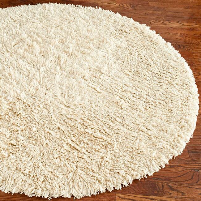 Safavieh Handmade Shaggy Ivory Natural Wool Rug - 6' x 6' Round