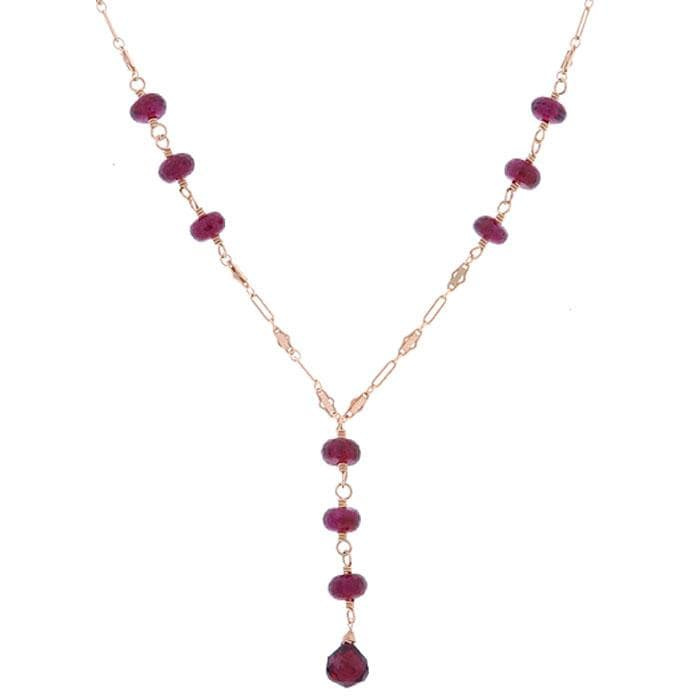 Misha Curtis Triple Drop 14k Goldfill and Garnet Necklace