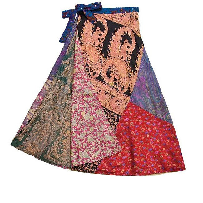Handmade Silk Patchwork Reversible 3/4 Panel Skirt (India)