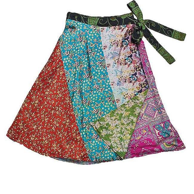 Handmade Silk Patchwork Reversible Panel Short Skirt (India)