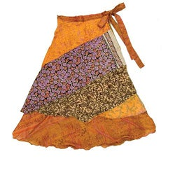 Handmade Silk Patchwork Reversible 3/4 Layered Skirt (India)