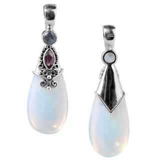 Handmade Sterling Silver Opalite, Amethyst & Blue Topaz Teardrop Bali Pendant(Indonesia)