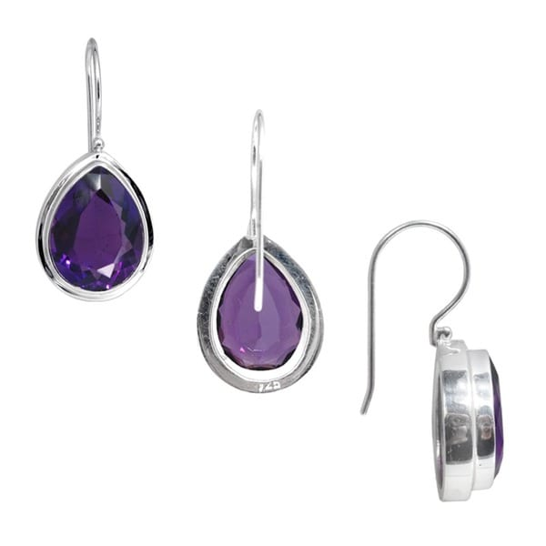 Sterling Silver Amethyst Peardrop Dangle Earrings (Indonesia)