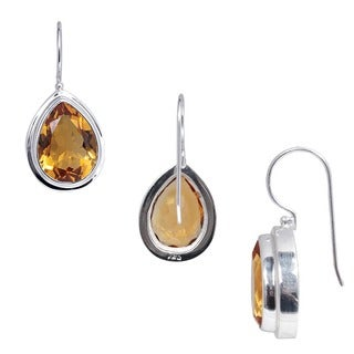 Handmade Sterling Silver Citrine Peardrop Dangle Earrings (Indonesia)
