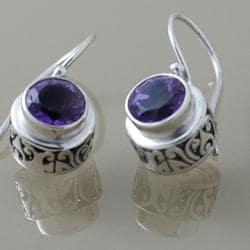 Sterling Silver Faceted Amethyst Dangle Bali Earrings (Indonesia)