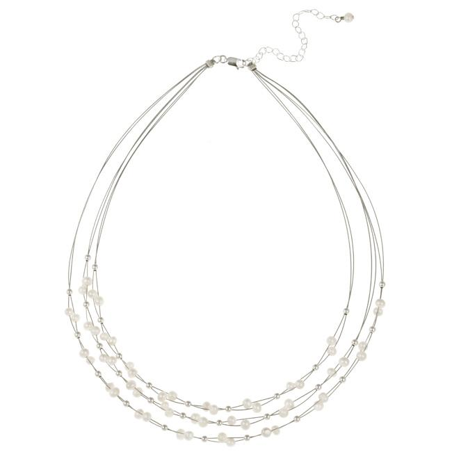 Glitzy Rocks Sterling Silver Freshwater Pearl 3-row Necklace (4-5 mm)