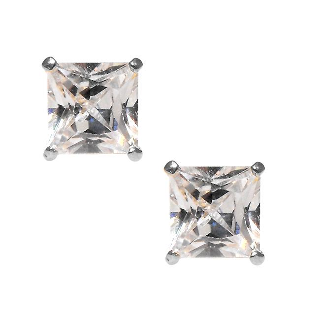 14k White Gold Cubic Zirconia Stud Earrings