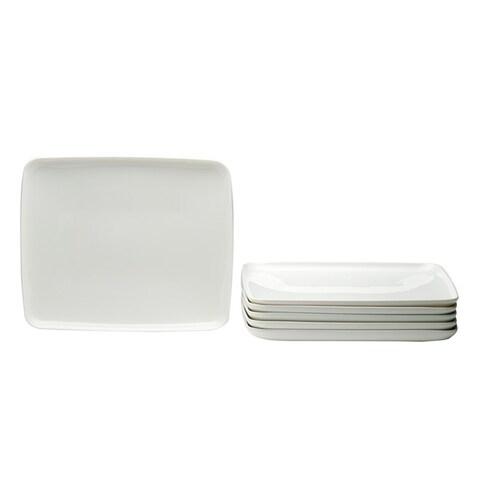 Red Vanilla Everytime White Rectangular Plate Set (Set of 6)