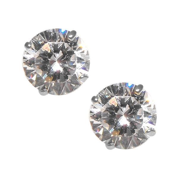 14k White Gold Cubic Zirconia Stud Earrings