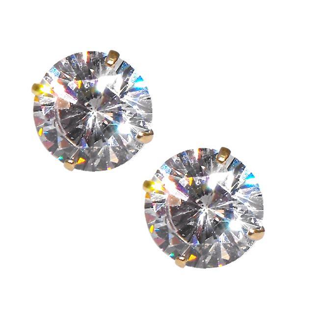 14k Yellow Gold Round-cut Cubic Zirconia Stud Earrings