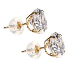 14k Yellow Gold Round-cut Cubic Zirconia Stud Earrings - Thumbnail 1