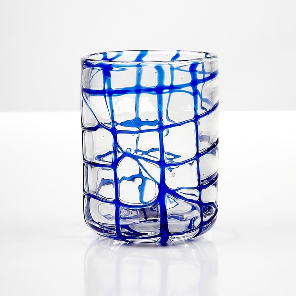 Impulse! Abstract Blue Rocks Glasses (Set of 4)