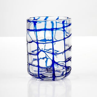 Impulse! Abstract Blue Rocks Glasses (Set of 4)