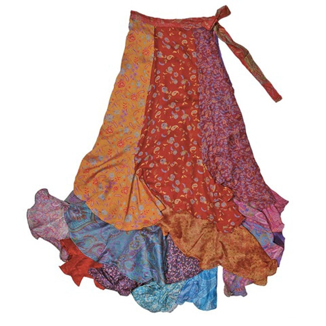 Handmade Silk Blend Long Patchwork Sari Wrap Skirt (India) - Thumbnail 0