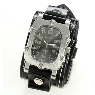 Nemesis Men's Classic Rugged Black Leather Band Watch