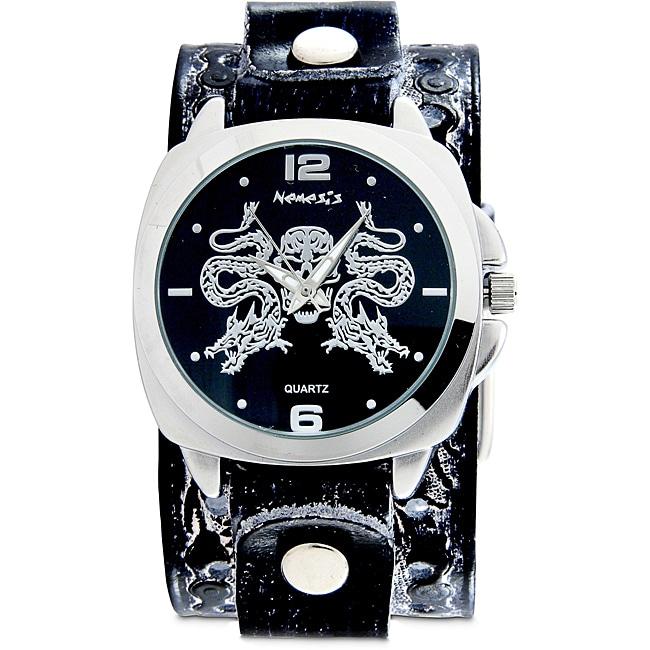 Nemesis Men's Black Snake Skull Leather Band Watch, Size ...