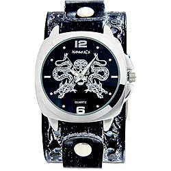 Nemesis Men's Black Snake Skull Leather Band Watch