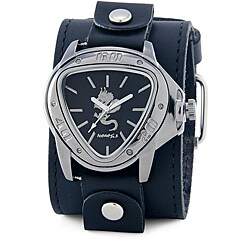 Nemesis Men's Silver Triangle Dragon Leather Band Watch