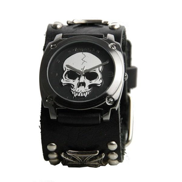 Nemesis Men's Black Heavy Duty Skull Watch