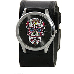 Nemesis Women's Sugar Skull Leather Band Watch